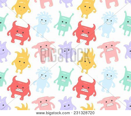 Colorful Seamless Monsters Pattern. Isolated On White Background