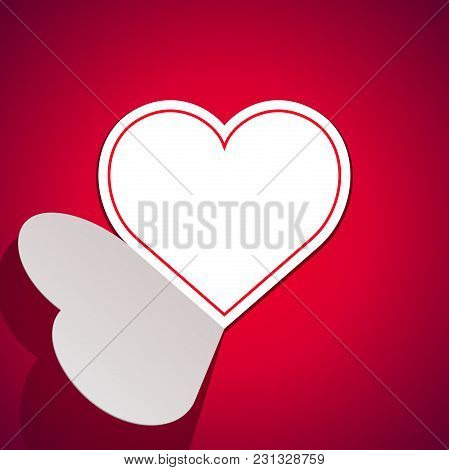 Vector Valentine's Day Greeting Card. Paper Heart On The Red Background.