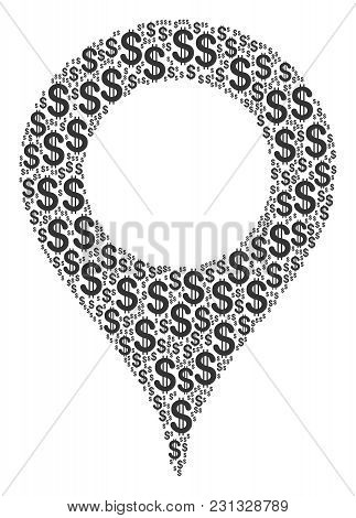 Map Marker Mosaic Of Dollar Symbols. Vector Dollar Icons Are United Into Map Marker Mosaic.