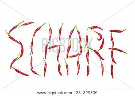 Scharf Written In Chilis On White Background