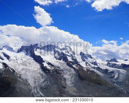 Monte Rosa Massif, Landscapes Of Alpine Mountains Range In Swiss Alps At Switzerland, From Gornergra