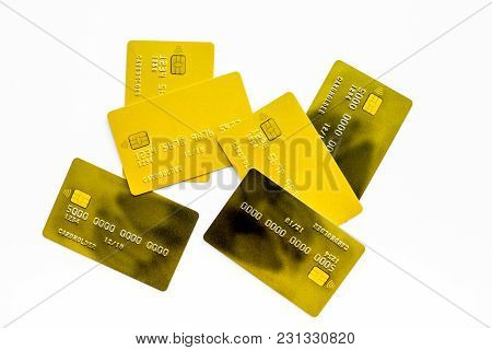 Bank Card Concept. Debit Card, Credit Card. White Background Top View.
