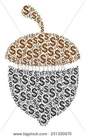 Oak Acorn Collage Of American Dollars. Vector Dollar Symbols Are United Into Oak Acorn Composition.