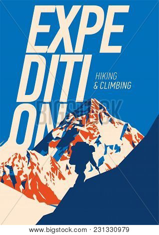 Extreme Outdoor Adventure Poster. High Mountains Illustration. Climbing, Trekking, Hiking, Mountaine