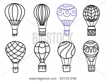 Set Of Vector Illustrations Of Outline Hot Air Balloon On Sky With Clouds And Birds. Collection Of I