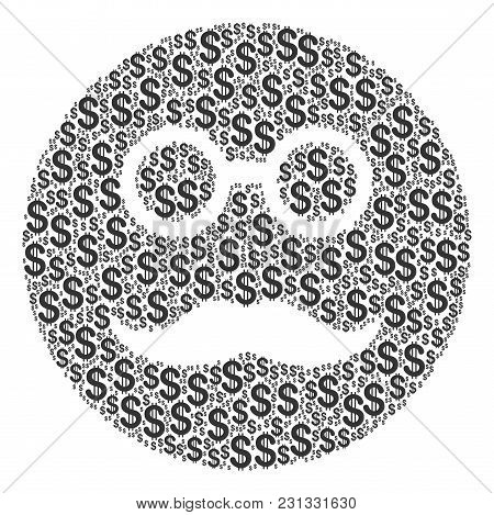 Pension Smiley Mosaic Of Dollar Symbols. Vector Dollar Currency Icons Are Combined Into Pension Smil