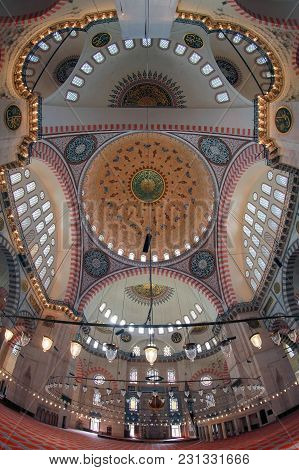 Istanbul, Turkey - March 27, 2012: Interior Of The Selaiman Mosque.