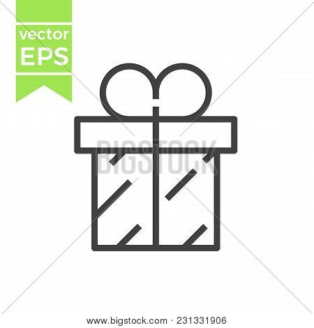 Vector Gift Box With Ribbon Line Icon, Outline Vector Sign, Linear Style Pictogram Isolated On White
