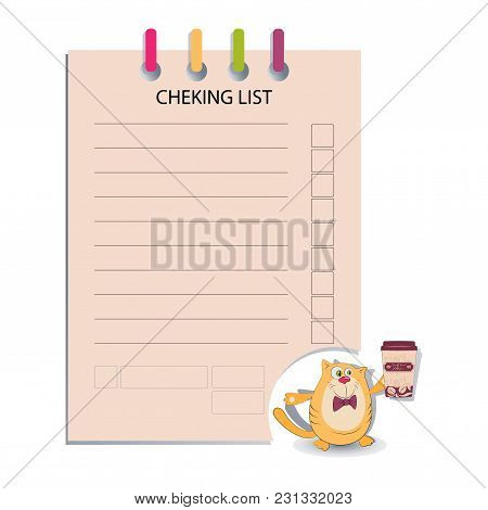 CHEK LIST and the cat keeps coffee. Design for messages, infromation for customers cafe, decorated menus, notes for waiters, or housewives, book for recipes.