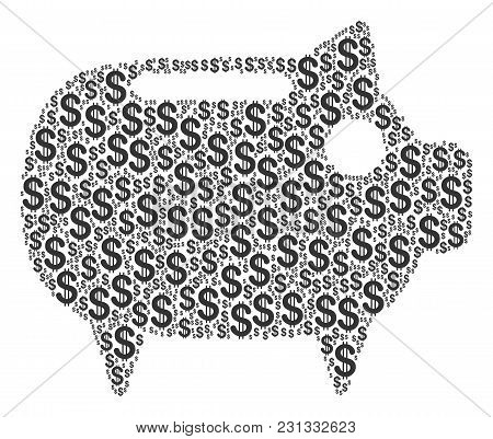 Piggy Bank Mosaic Of Dollar Symbols. Vector Dollar Currency Pictograms Are Composed Into Piggy Bank