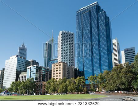 Perth, Australia - January 22, 2018: Skyline Of Downtown Perth On January 22, 2018 In Western Austra