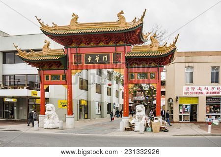 Adelaide, Australia - August 5: The Gate And Shoppers And Stores In China Town On August 5, 2010 In