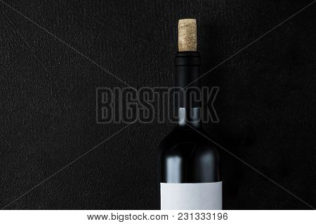 Bottle Of Wine With Cork On The Black Stone Background, Wine Degustation Concept
