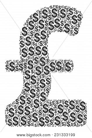 Pound Sterling Collage Of Dollars. Vector Dollar Currency Pictograms Are Grouped Into Pound Sterling