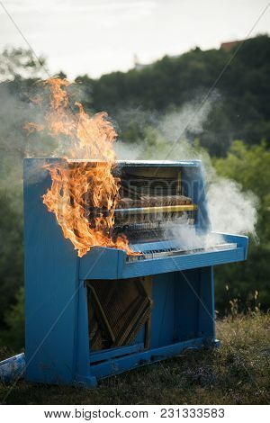 Pop Music, Melody, Rhapsody, Looting. Piano On Fire, Keyboard, Smoke. Fire, Art, Halloween, Trash, B