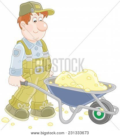 Smiling Worker Carrying Sand In A Wheelbarrow, A  Vector Illustration In Cartoon Style