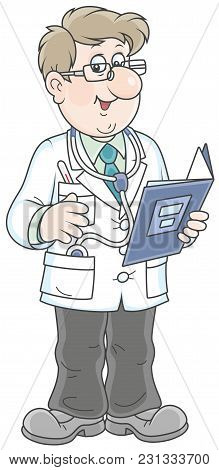 Smiling Doctor In A White Hospital Gown With A Folder Of A Medical History And A Stethoscope, A  Vec