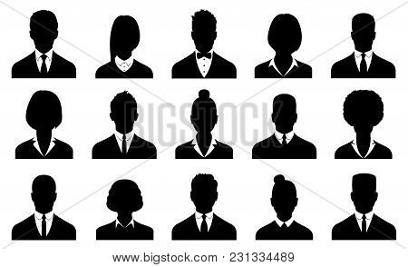Business Avatars , Profile Icons Set. Vector Illustration.