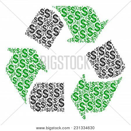 Recycle Arrows Mosaic Of American Dollars. Vector Dollar Pictograms Are Combined Into Recycle Arrows