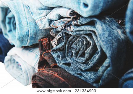 Denim Jeans Background With  Belt And Seam Of Jeans Fashion Design. Stitched Texture Denim Jeans Bac