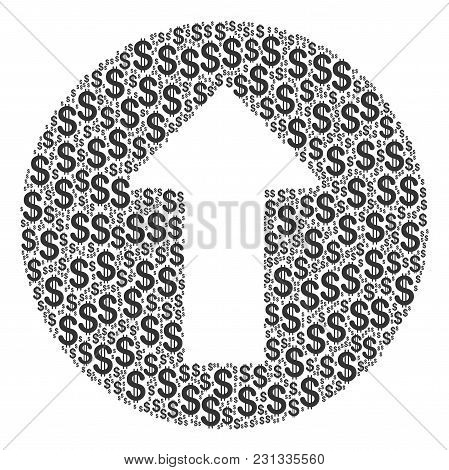 Rounded Arrow Composition Of American Dollars. Vector Dollar Pictograms Are Composed Into Rounded Ar