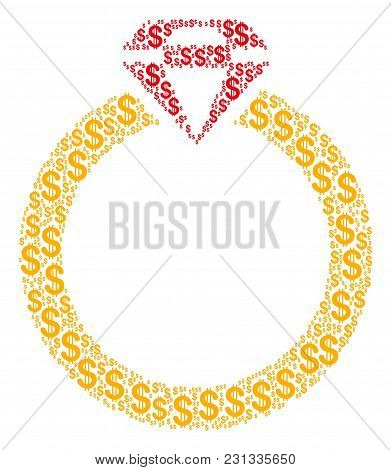 Ruby Ring Collage Of Dollar Symbols. Vector Dollar Symbols Are Organized Into Ruby Ring Composition.