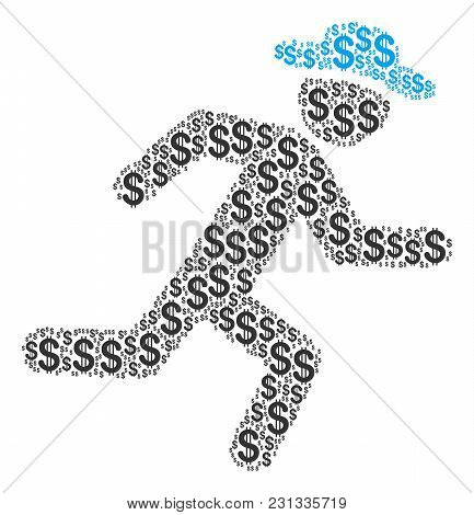 Running Gentleman Collage Of American Dollars. Vector Dollar Icons Are Composed Into Running Gentlem