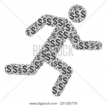 Running Man Collage Of Dollars. Vector Dollar Pictograms Are Combined Into Running Man Collage.