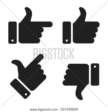 Hand Icon Set. Thumb Up And Thumb Down Icon. Vector Illustration