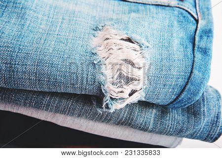 Denim Jeans Background With Seam Of Jeans Fashion Design. Stitched Texture Denim Jeans Background Of