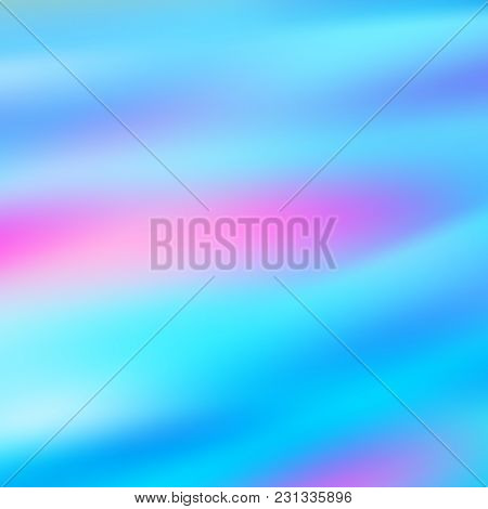 Sky Blue Holographic Background. Vibrant Neon Pastel Texture. Hologram For Print And Web Design. Hip