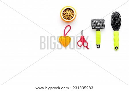 Cats And Dogs Toys And Acessories For Pets On White Background Top View Mockup
