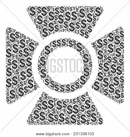 Searchlight Collage Of Dollar Symbols. Vector Dollar Pictograms Are Combined Into Searchlight Illust