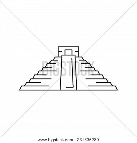 Mexico Pyramid Icon. Outline Mexico Pyramid Vector Icon For Web Design Isolated On White Background