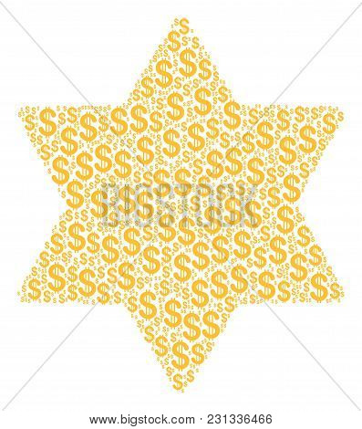 Six Pointed Star Mosaic Of Dollar Symbols. Vector Dollar Pictograms Are Grouped Into Six Pointed Sta