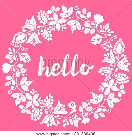 Hello, White Laurel Wreath Vector Frame Isolated On Pink Background