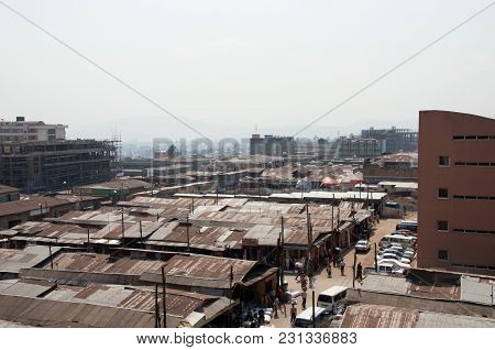 Central Market Of The City Of Adis Ababa From The Heights: Huge Rooftops Of Shopping Arcades, The La