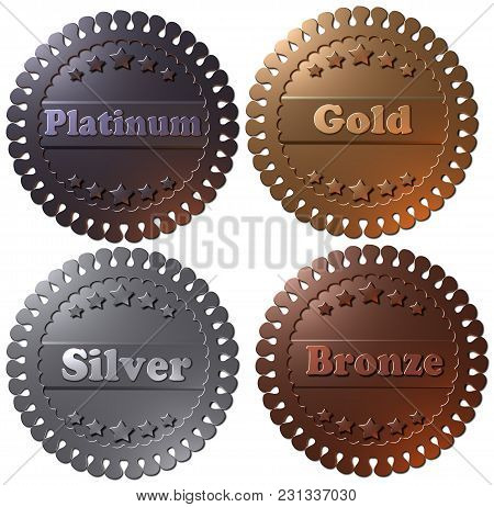Set of four 3D winner metallic badges, seals or buttons. 3D rendered medals, platinum gold silver and bronze. poster