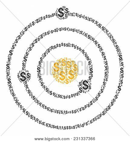 Solar System Collage Of Dollar Symbols. Vector Dollar Currency Icons Are Combined Into Solar System