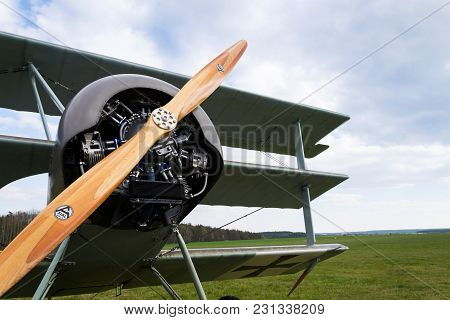 Plasy, Czech Republic - April 30 2017: Fokker Dr.i Dreidecker Triplane Stands On Airport On April 30