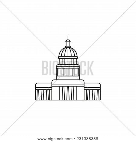 National Cuba Capitol Icon. Outline National Cuba Capitol Vector Icon For Web Design Isolated On Whi