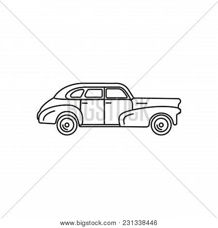 Old Car Icon. Outline Old Car Vector Icon For Web Design Isolated On White Background