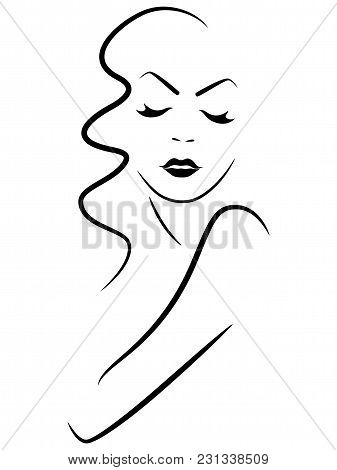 Abstract Sensual Woman With Closed Eyes, Simple Vector Outline