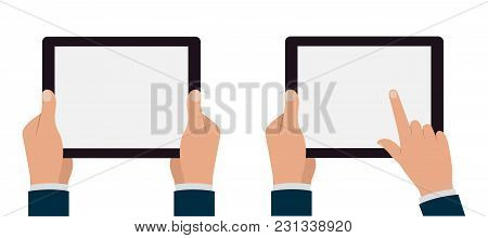 Set Of Tablets Pc With Hands. Stock Illustration