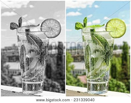 A Glass Of Mojito Cocktail Or Caipirinha. Concept: Hot Summer, Modern City, Thirst Quenching