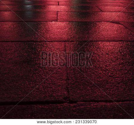 Red Wet Paving Cubes At Signalfest In Prague