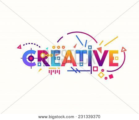 Creative Text Banner Concept. Thin And Thick Lines Illustration. Circles And Squares With Gradient.
