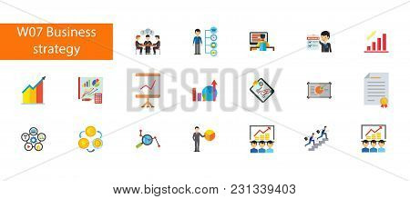 Nineteen Busines Strategy Flat Vector Icons Collection On White Background. Can Be Used For Topics L