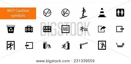 Nineteen Caution Symbols Flat Vector Icons Collection On White Background. Can Be Used For Topics Li