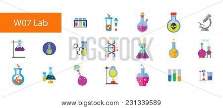 Nineteen Chemical Laboratory Flat Vector Icons Collection On White Background. Can Be Used For Topic